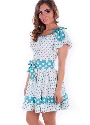 Молодежное платье в горошек s р