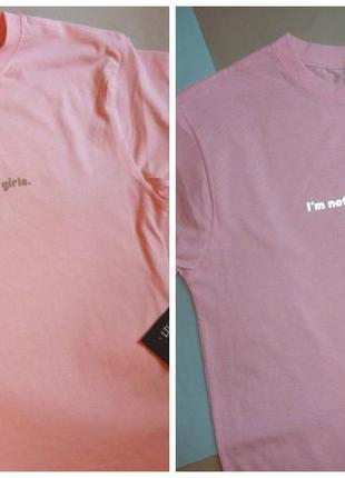 Розовая милая футболка  с надписью рефлектив: i'm not like other girls. i'm satan