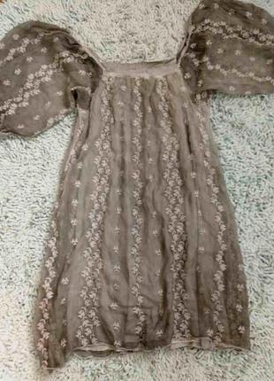 Платье градиент с пышными рукавами