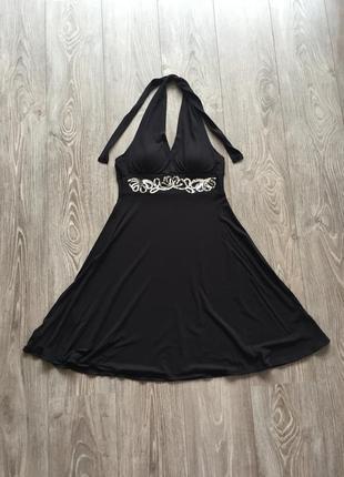 Чёрный сарафан bodyflirt, 36, чёрное платье с завышенной талией, нарядное