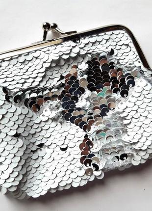 Большой кошелек в пайетках-перевертышах (белый-серебро)