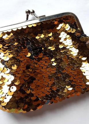 Большой кошелек в пайетках-перевертышах (золото-серебро)