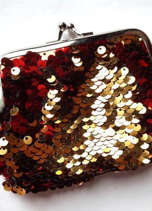 Большой кошелек в пайетках-перевертышах (красный-золото)