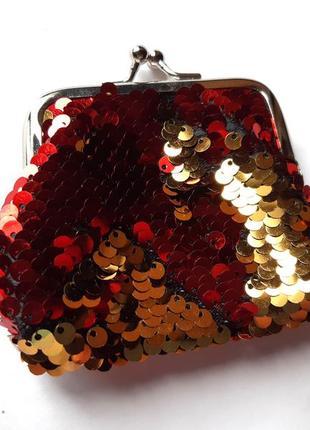Маленький кошелек в пайетках-перевертышах (красный-золото)