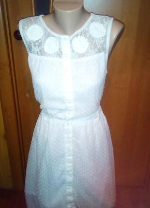 Платье рубашка летнее белое прошва