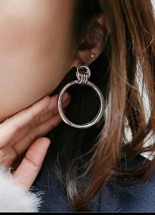 Серьги винтаж в стиле zara серебро круглые кольца сережки проволка
