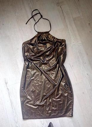 Шикарное сексуальное летнее платье с открытой спинок легкое короткое бронзовое