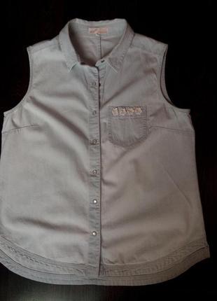 Суперская джинсовая рубаха без рукавов бренд angel, размер l