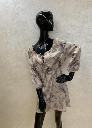 Платье летнее , шёлковое жемчужное с птицами сильное