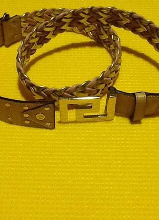Плетеный кожаный пояс versace. оригинал !