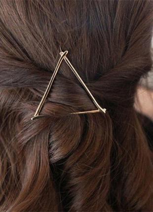 Заколка для волос треугольник геометрия золото