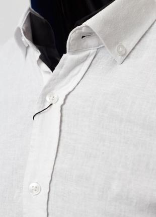 Рубашка мужская льняная figo 15276 с регулировкой рукава цвета в ассортименте3 фото
