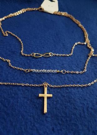 Красивая цепочка 3шт. золото крестик бесконечность