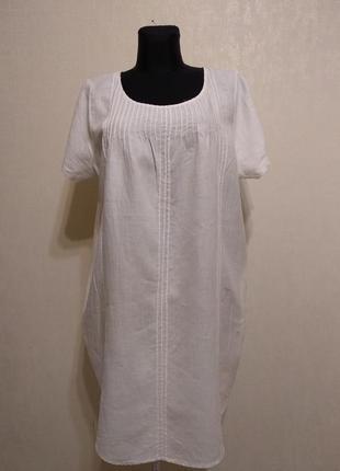 Белоснежное льняное платье,натуральная ткань,платье для беременных с кармашками yessica