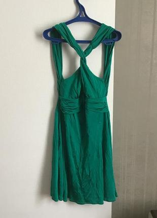 Изумрудное платье warehouse англия оригинал с открытой спиной коктейльное