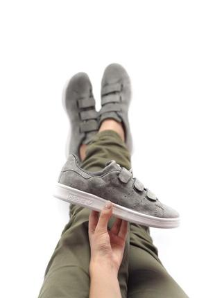 Удобные замшевые женские кроссовки adidas на липучках (весна-лето-осень)😍