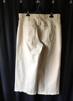 Бежевые укороченные джинсы кюлоты с необработанным низом h&m, размер 443 фото