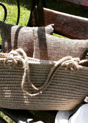 Пляжна  вязана еко сумка джутова пляжна