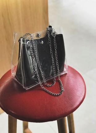 Актуальная прозрачная сумка с внутренней косметичкой, на цепочке кросс боди