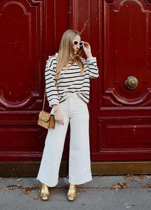Бежевые укороченные джинсы кюлоты с необработанным низом h&m, размер 441 фото