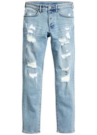 Голубые рваные джинсы h&m , trashed skinny !