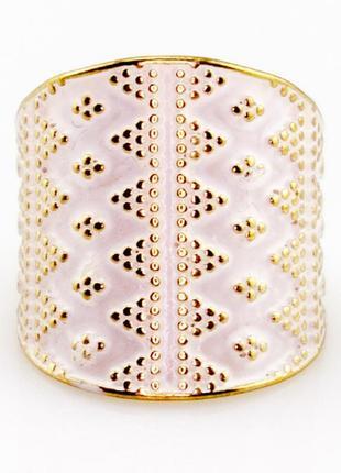 Стильное широкое кольцо с эмалью
