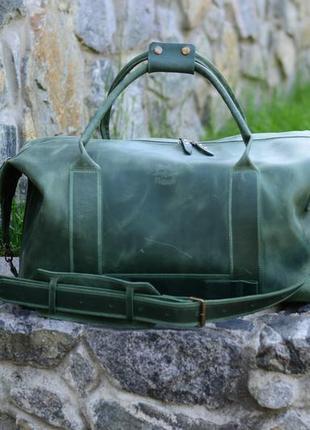 Зеленая дорожная сумка, кожаная спортивная сумка