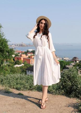 Объемное хлопковое платье миди молочного цвета / размер универсальный подойдет на s-l