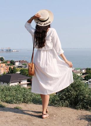 Объемное хлопковое платье миди молочного цвета / размер универсальный подойдет на s-l2 фото