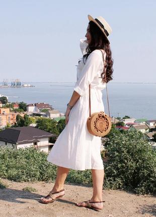 Объемное хлопковое платье миди молочного цвета / размер универсальный подойдет на s-l3 фото