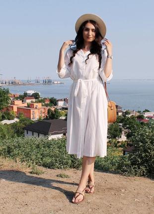 Объемное хлопковое платье миди молочного цвета / размер универсальный подойдет на s-l5 фото
