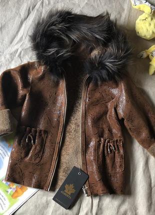 Дубленка натуральная с капюшоном 5-6лет мех кожа