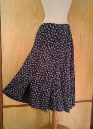 Вискозная синяя юбка, 3хl.