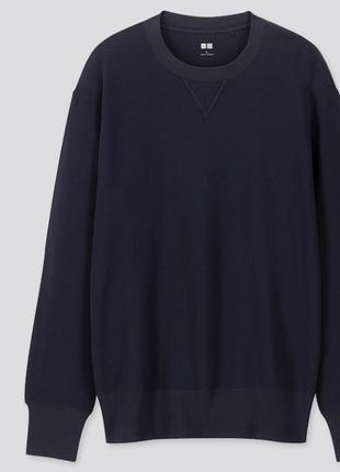 Толстовка neck long sleeved sweatshirt от uniqlo, м синяя.