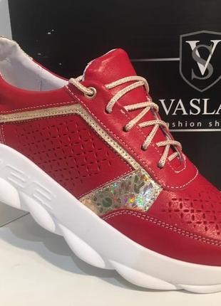 Красные кожаные кроссовки,39 размер