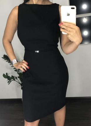 Элегантное чёрное платье миди в деловом стиле / платья классика / бизнес вумен