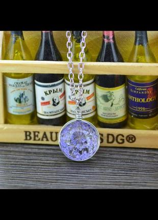 Распродажа украшений! кулон подвеска с натуральными цветами на цепочке под серебро