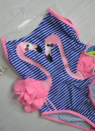 """Купальник слитный для девочек """"розовый фламинго"""" (синий-белый)"""