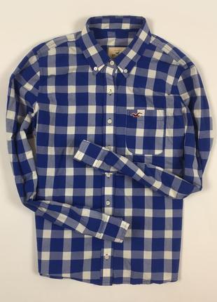 Мужская рубашка hollister синяя в клетку холистер размер l