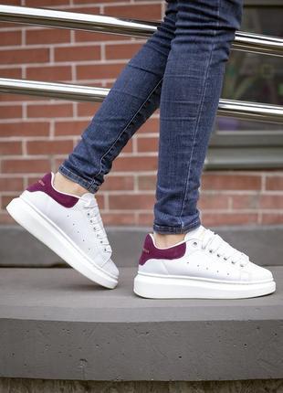 Стильные кроссовки ❤ alexander mcqueen white/wine red ❤