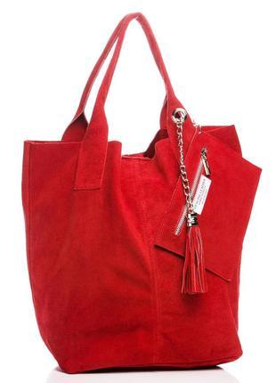 Замшевая красная сумка arianna италия цвета в ассортименте1 фото