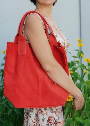 Замшевая красная сумка arianna италия цвета в ассортименте5 фото