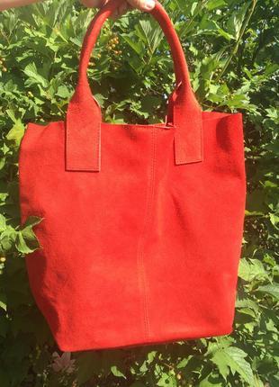 Замшевая красная сумка arianna италия цвета в ассортименте7 фото