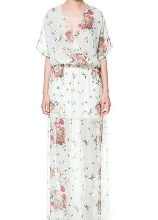 Макси платье в цветочный принт zara