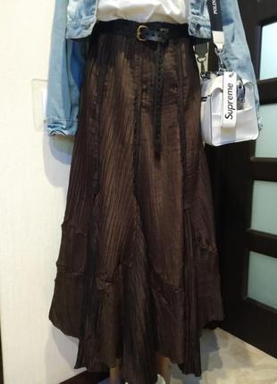 Стильная юбка гофре жатка макси коричневая
