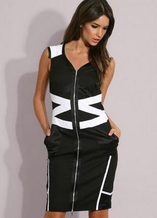 Эффектное стрейчевое платье р.s/м karen millen, коттон с добавлением шелка