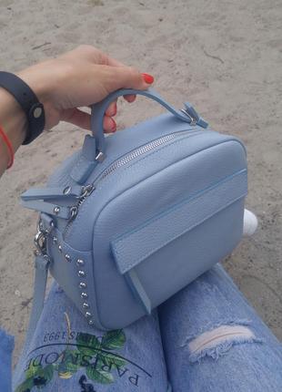Кожаная сумка италия в голубом цвете