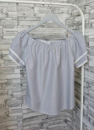Стильная блуза в полоску с коротким рукавом из хлопка