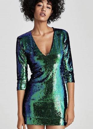 Платье в пайетках на вечеринку или выпускной. zara. размер xs.