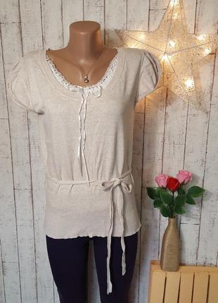Бежевая футболка майка топ блуза с белым хлопковым кружевом и с поясом р. xl
